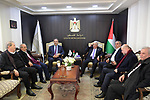 Palestinian President Mahmoud Abbas, visit Palestine TV, in the West Bank city of Ramallah, on January 01, 2020. Photo by Thaer Ganaim
