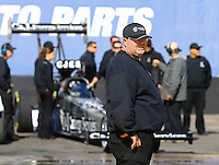 Feb 4, 2016; Chandler, AZ, USA; Crew chief Jason McCulloch with NHRA top fuel driver Dave Connolly during pre season testing at Wild Horse Pass Motorsports Park. Mandatory Credit: Mark J. Rebilas-USA TODAY Sports