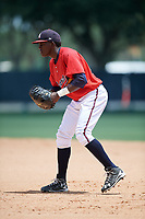 GCL Braves first baseman Jean Carlos Encarnacion (25) during a game against the GCL Pirates on July 27, 2017 at ESPN Wide World of Sports Complex in Kissimmee, Florida.  GCL Braves defeated the GCL Pirates 8-6.  (Mike Janes/Four Seam Images)