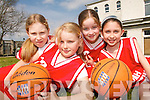 FUTURE STARS: Aoife O'Neill, Rachel Collins, Michelle McCarthy and Sarah O'Keeffe, members of the Naomh Laichlin Basketball team from North Kerry  who took part in the annual Dromclough National School Basketball Tournament in Listowel last weekend..