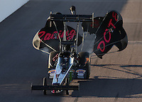 Feb. 22, 2013; Chandler, AZ, USA; NHRA top fuel dragster driver Leah Pruett during qualifying for the Arizona Nationals at Firebird International Raceway. Mandatory Credit: Mark J. Rebilas-