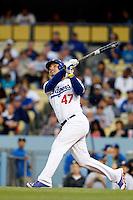 Luis Cruz #47 of the Los Angeles Dodgers bats against the Atlanta Braves at Dodger Stadium on June 6, 2013 in Los Angeles, California. (Larry Goren/Four Seam Images)