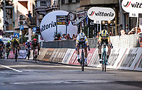 Wout Van Aert (BEL/Jumbo-Visma) wins 'La Primavera' (in summer!) in a sprint down the Via Roma against defending champion Julian Alaphilippe (FRA/Deceuninck-QuickStep)<br /> <br /> 111st Milano-Sanremo 2020 (1.UWT)<br /> 1 day race from Milano to Sanremo (305km)<br /> <br /> the postponed edition > exceptionally held in summer because of the Covid-19 pandemic calendar reshuffle