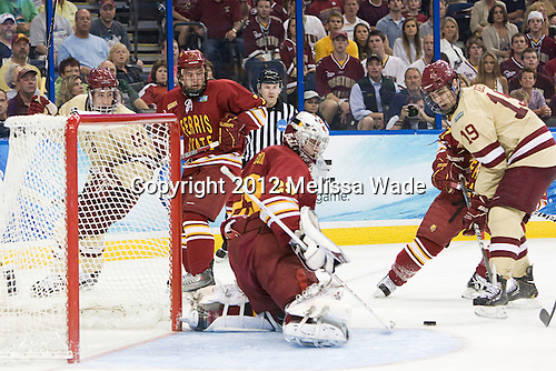Kevin Hayes (BC - 12), Jason Binkley (FSU - 7), Taylor Nelson (FSU - 29), Chris Kreider (BC - 19) - The Boston College Eagles defeated the Ferris State University Bulldogs 4-1 (EN) in the 2012 Frozen Four final to win the national championship on Saturday, April 7, 2012, at the Tampa Bay Times Forum in Tampa, Florida.