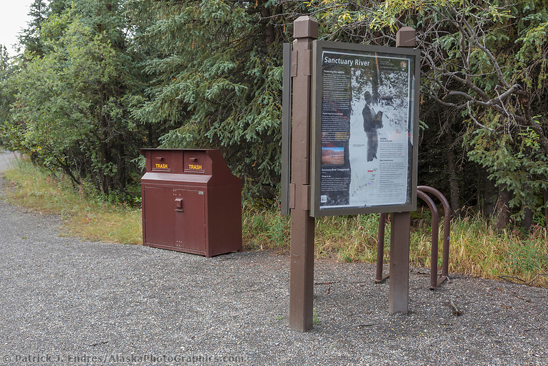 Bear proof trash cans and signage at campground in Denali National Park, Alaska.