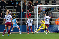 17th November 2019; Academy Stadium, Manchester, Lancashire, England; The FA Womens Super League, Manchester City Women versus West Ham United Women; Lauren Hemp of Manchester City Women scores the fourth goal to put them ahead at half time 4-0 - Editorial Use