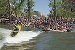 Team Jackson pro kayaker Stephen Wright competes in downtown Reno at the 2008 Reno Riverfestival held along the Truckee River in the center of town. Stephen took second place in the pro division.