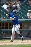 Mac James (28) of the Durham Bulls at bat against the Charlotte Knights at BB&T BallPark on May 27, 2019 in Charlotte, North Carolina. The Bulls defeated the Knights 10-0. (Brian Westerholt/Four Seam Images)