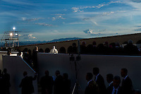 Assisi,Italy, September 20, 2016. Papa Francesco parla davanti la Basilica di San Francesco durante la celebrazione della giornata di preghiera per la Pace ad Assisi. Pope Francis delivers his speech during the closing event of an inter-religious prayer gathering, in front of the Basilica of St. Francis, Assisi. War refugees and leaders and representatives of several religions, including Christians, Jews, Muslims, Hindus and others, joined Pope Francis in a day of prayer for peace in Assisi, the hometown of St. Francis, who preached tolerance and gentleness.