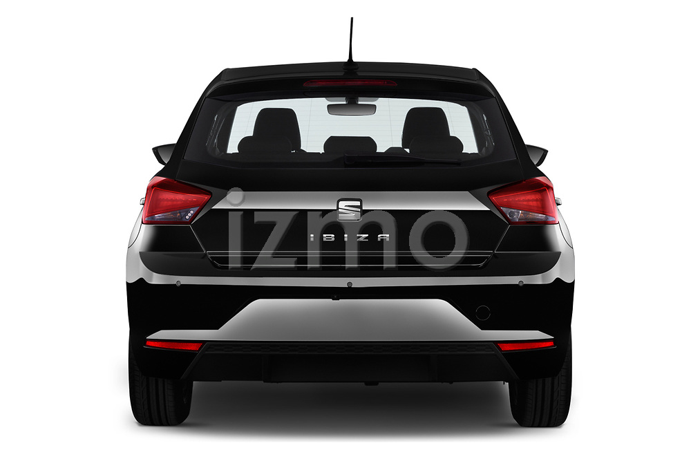 Straight rear view of 2018 Seat Ibiza Xcellence 5 Door Hatchback stock images
