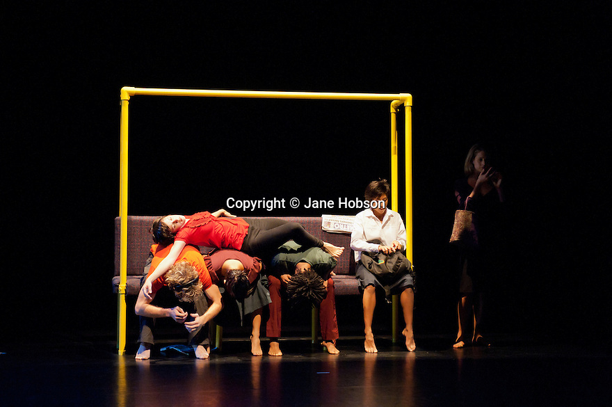 "London, UK. 11/10/2011. Rambert Dance presents a season of new choreography at The Place. This piece is entitled ""Lines written a few miles below"", choreographed by Malgorzata Dzierzon and danced by Miguel Altanaga, Lucia Barbadillo, Julia Gillespie, Robin Gladwin, Dane Hurst, Vanessa Kang, Estela Merlos and Stephen Wright."