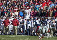 Hawgs Illustrated/BEN GOFF <br /> Jonathan Nance, Arkansas wide receiver, catches a pass in the fourth quarter against Ole Miss Saturday, Oct. 28, 2017, at Vaught-Hemingway Stadium in Oxford, Miss.