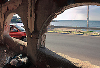 Empty illegal house along the coast of Cinisi in Palermo.<br /> edifici abusivi abbandonati lungo la costa di Cinisi, Palermo
