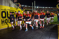 The Chiefs team walks back in after their warm-up for the Super Rugby semifinal match between the Hurricanes and Chiefs at Westpac Stadium, Wellington, New Zealand on Saturday, 30 July 2016. Photo: Dave Lintott / lintottphoto.co.nz