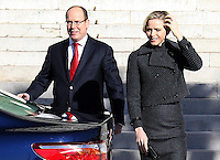 Prince Albert II and Princess Charlene of Monaco at Sainte Devote Mass - Monaco