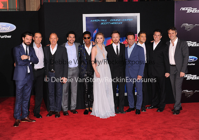 Dominic Cooper,Michael Keaton, Ramon Rodriguez, Scott Mescudi, Imogen Poots, Aaron Paul, director/executive producer Scott Waugh and actor Rami Malek  attends The Dreamworks Pictures' L.A. premiere of Need for Speed held at The TCL Chinese Theater in Hollywood, California on March 06,2014                                                                               © 2014 Hollywood Press Agency