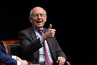 Washington, DC - February 25, 2016: U.S. Supreme Court Associate Justice Stephen G. Breyer gestures as he answers a question during a discussion at the Newseum in the District of Columbia, February 25, 2016, held in conjunction with the Supreme Court Fellows Program. The event was moderated by NBC News correspondent Pete Williams.  (Photo by Don Baxter/Media Images International)