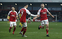 Fleetwood Town's Paddy Madden (right) celebrates scoring his side's second goal with team-mate Wes Burns<br /> <br /> Photographer Rich Linley/CameraSport<br /> <br /> The EFL Sky Bet League One - Fleetwood Town v Oxford United - Saturday 12th January 2019 - Highbury Stadium - Fleetwood<br /> <br /> World Copyright &copy; 2019 CameraSport. All rights reserved. 43 Linden Ave. Countesthorpe. Leicester. England. LE8 5PG - Tel: +44 (0) 116 277 4147 - admin@camerasport.com - www.camerasport.com