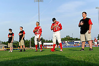 Batavia Muckdogs outfielder Austin Dean #3 and Yefri Perez #12 stand with the stars of the game during the national anthem before a game against the Mahoning Valley Scrappers on June 22, 2013 at Dwyer Stadium in Batavia, New York.  Batavia defeated Mahoning Valley 2-1 in ten innings.  (Mike Janes/Four Seam Images)