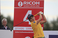 Misuzu Narita (JPN) on the 4th tee during Round 2 of the Ricoh Women's British Open at Royal Lytham &amp; St. Annes on Friday 3rd August 2018.<br /> Picture:  Thos Caffrey / Golffile<br /> <br /> All photo usage must carry mandatory copyright credit (&copy; Golffile | Thos Caffrey)