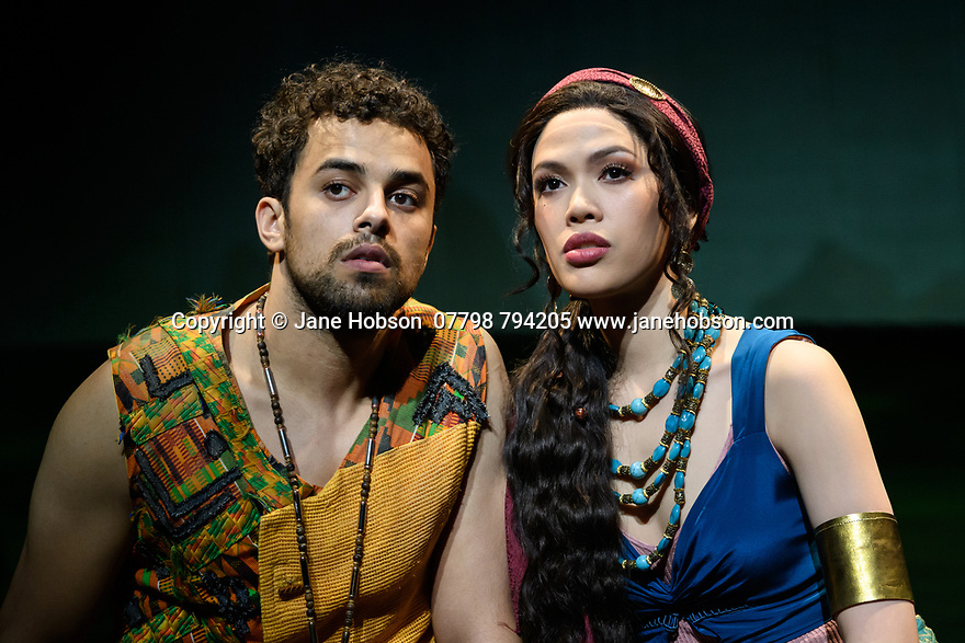 """London, UK. 21.02.2020. Luke Brady (Moses), Christine Allado (Tzipporah) in a scene from """"Prince of Egypt"""", at the press photocall at the Dominion Theatre, London. Produced by DreamWorks Theatricals, directed by Scott Schwartz, with choreography by Sean Cheesman, set design by Kevin Depinet, costume design by Ann Hould-Ward and lighting design by Mike Billings.  Photograph © Jane Hobson."""