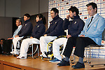 (L to R) Masanobu Araki, Taiki Morii (JPN), Shoko Ota (JPN), Kozo Kubo (JPN), Hiraku Misawa (JPN), Kunio Nakamori, DECEMBER 24, 2013 - : Sochi Paralympics Japanese team first-order announcement press conference at Nihonbashi Hamacho F Tower Plaza, Tokyo, Japan. (Photo by AFLO SPORT)