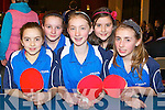 Competing in the National table Tennis championships in the INEC Killarney on Saturday was l-r: Valentina Puotkalyte, Courtney Drummond, Claire O'Shea, Kerry O'Mahoney and Lynn O'Shea Killarney.