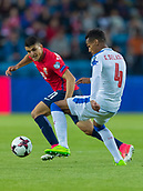 June 10th 2017, Ullevaal Stadion, Oslo, Norway; World Cup 2018 Qualifying football, Norway versus Czech Republic;  Thoedor Gebre Selassie of Czech Republic clears the ball from  Mohamed Elyounoussi of Norway during the FIFA World Cup qualifying match
