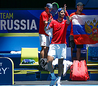 7th January 2020; RAC Arena, Perth, Western Australia; ATP Cup Australia, Perth, Day 5; Russia versus Norway; Karen Khachanov of Russia applauds the fans after defeating Viktor Durasovic of Norway 2 sets to love - Editorial Use