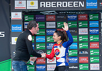 Picture by Allan McKenzie/SWpix.com - 17/05/2018 - Cycling - OVO Energy Tour Series Womens Race - Round 2:Aberdeen - Brother UK's Phil Jones MBE presents Rebecca Durrell with the Brother Fastest Lap award.