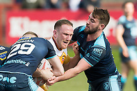 Picture by Allan McKenzie/SWpix.com - 25/03/2018 - Rugby League - Betfred Championship - Batley Bulldogs v Featherstone Rovers - Heritage Road, Batley, England - Sam Smeaton is tackled by Martyn Ridyard.