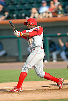 OF Leandro Castro of the Williamsport Crosscutters, the short season A ball affiliate of the Philadelphia Phillies,at Edward LeLacheur Park in Lowell,MA on July 18, 2009 (Photo by Ken Babbitt/Four Seam Images)