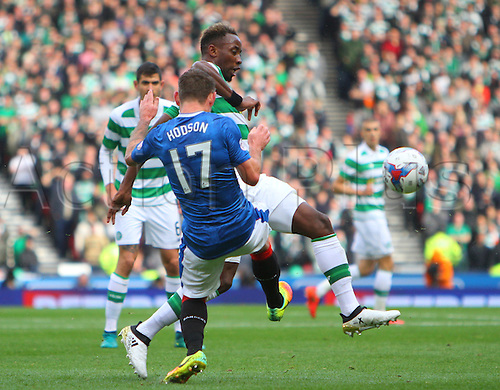 23.10.2016. Hampden Park, Glasgow, Scotland. Betfred Cup Semi Final Football. Rangers versus Celtic. Lee Hodson and Moussa Dembele challenge for the ball