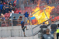 4th February 2020; National Stadium of Chile, Santiago, Chile; Libertadores Cup, Universidade de Chile versus Internacional; fans of Universidad de Chile protest and set fire to the stands
