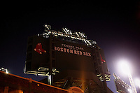 "The back side of a new High Definition (HD) video screen standing above center field reads ""Fenway Park, Home of the Boston Red Sox"" at Fenway Park in Boston, Massachusetts, USA."