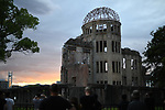 HIROSHIMA, JAPAN - AUGUST 05: The Atomic Bomb Dome is seen at sunset in the Hiroshima Peace Memorial Park a day before the 74th anniversary of the bombing in Hiroshima, western Japan, August 5, 2019. The Genbaku Dome also known as the Atomic Bomb Dome is now a symbol for peace within the Hiroshima Peace Memorial Park. The building was one of the few left standing when the first atomic bomb 'Little Boy' was dropped by the United States from the Enola Gay on August 6, 1945. (Photo: Richard Atrero de Guzman/ AFLO)