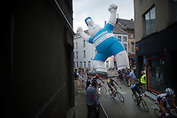BIG fan cheering the riders on while they race the narrow streets in Mechelen<br /> <br /> Post-Tour Criterium Mechelen (Belgium) 2016