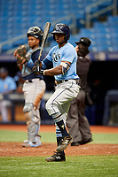 K.V. Edwards (5) at bat during the Tampa Bay Rays Instructional League Intrasquad World Series game on October 3, 2018 at the Tropicana Field in St. Petersburg, Florida.  (Mike Janes/Four Seam Images)