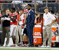 Ohio State Buckeyes quarterback Braxton Miller (5) looks on against Virginia Tech Hokies during the 2nd quarter of their game in Ohio Stadium on September 6, 2014.  (Dispatch photo by Kyle Robertson)