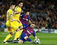 27th November 2019; Camp Nou, Barcelona, Catalonia, Spain; UEFA Champions League Football, Barcelona versus Borussia Dortmund;  Rakitic clears under pressure from Weigl of Dortmund - Editorial Use