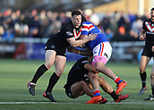 3rd February 2019, Trailfinders Sports Ground, London, England; Betfred Super League rugby, London Broncos versus Wakefield Trinity; Matt Gee of London Broncos tackles David Fifita of Wakefield Trinity