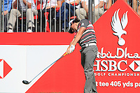 Rory McIlroy (NIR) in action on the 1st tee during Sunday's Final Round of the HSBC Golf Championship at the Abu Dhabi Golf Club, United Arab Emirates, 29th January 2012 (Photo Eoin Clarke/www.golffile.ie)