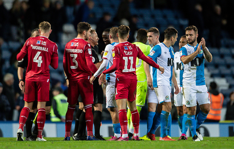 Players and officials shake hands at the end of the match<br /> <br /> Photographer Andrew Kearns/CameraSport<br /> <br /> The EFL Sky Bet Championship - Blackburn Rovers v Nottingham Forest - Tuesday 1st October 2019  - Ewood Park - Blackburn<br /> <br /> World Copyright © 2019 CameraSport. All rights reserved. 43 Linden Ave. Countesthorpe. Leicester. England. LE8 5PG - Tel: +44 (0) 116 277 4147 - admin@camerasport.com - www.camerasport.com