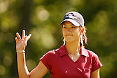 August 22, 2004; Dublin, OH, USA;  14 year old amateur Michelle Wie acknowledges the crowd during the final round of the Wendy's Championship for Children golf tournament held at Tartan Fields Golf Club.  <br />Mandatory Credit: Photo by Darrell Miho <br />&copy; Copyright Darrell Miho