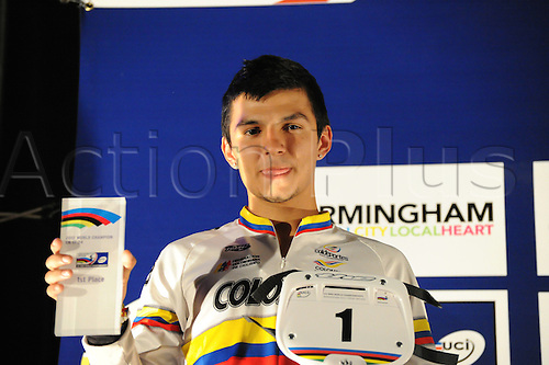 05.27.2012. England, Birmingham, National Indoor Arena. UCI BMX World Championships. Podium trio for the Cruisers Men 17 -24 Finals at the NIA. ..Juan Camilo Marin Dominguez (Colombia) 1st......