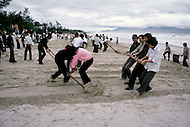 Danang, February 1988. Community work on the beach of Danang.