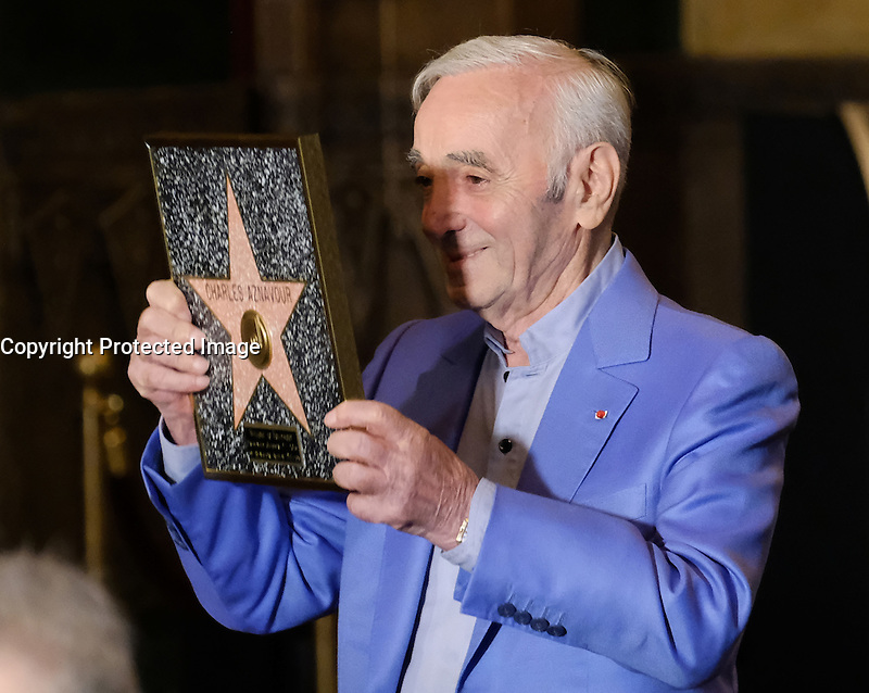 Charles Aznavour @ his honorary Hollywood Walk of Fame star plaque held @ the Hollywood Pantages. October 27, 2016 , Hollywood, USA. # CHARLES AZNAVOUR RECOIT UNE PLAQUE DU 'WALK OF FAME' A HOLLYWOOD
