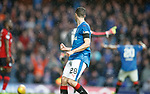 07.04.2018 Rangers v Dundee:<br /> Jamie Murphy turns around after scoring to see Alfredo Morelos going tonto with rage