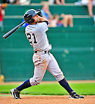 18 July 2010: Staten Island Yankees outfielder Shane Brown in action against the Vermont Lake Monsters at Centennial Field in Burlington, Vermont. The Lake Monsters fell to the Yankees 9-5 in NY Penn League action. Mandatory Credit: Ed Wolfstein Photo