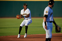 Bradenton Marauders shortstop Oneil Cruz (13) throws to first base during a Florida State League game against the Fort Myers Miracle on April 23, 2019 at LECOM Park in Bradenton, Florida.  Fort Myers defeated Bradenton 2-1.  (Mike Janes/Four Seam Images)